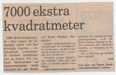 Zeitungsartikel 7000 ekstra kvadartmeter