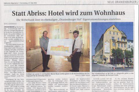 Pressebeitrag Statt Abriss Hotel